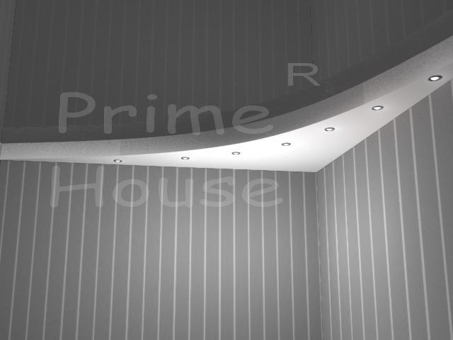 Форма 4 (переход уровня по дуге, матовый и глянцевый, встроенные светильники)
